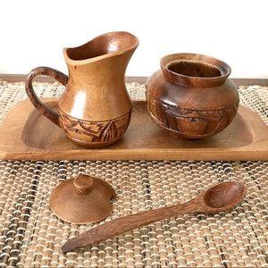 Hand carved wood serving set
